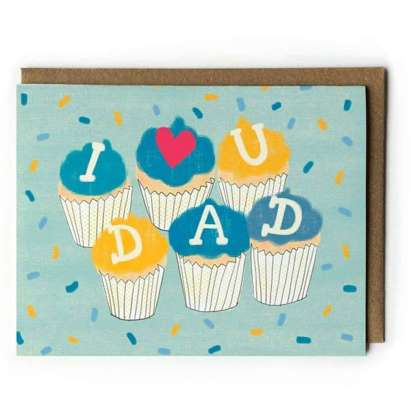 I Heart You Dad Card with cupcakes