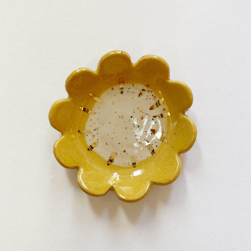 Yellow Sunflower Ceramic Ring Dish