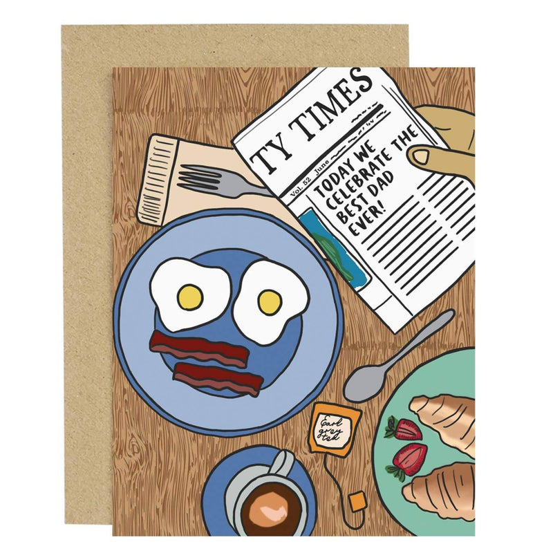 father's day card with newspaper and breakfast scene