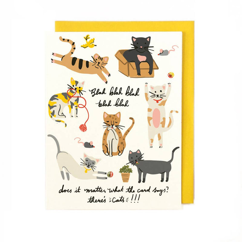 Distracted Cats Greeting Card