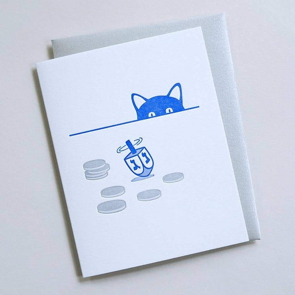 Dreidel Cat Blue Card