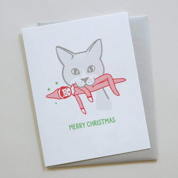 Elf on the shelf cat christmas card