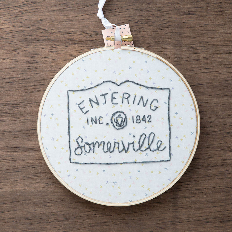 Entering Somerville / Hand-Stitched Embroidery Hoop