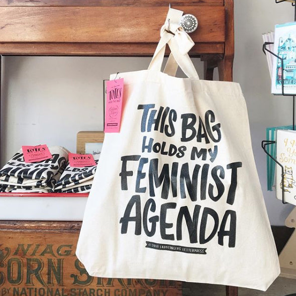 Feminist Agenda Tote Bag - Canvas with black lettering