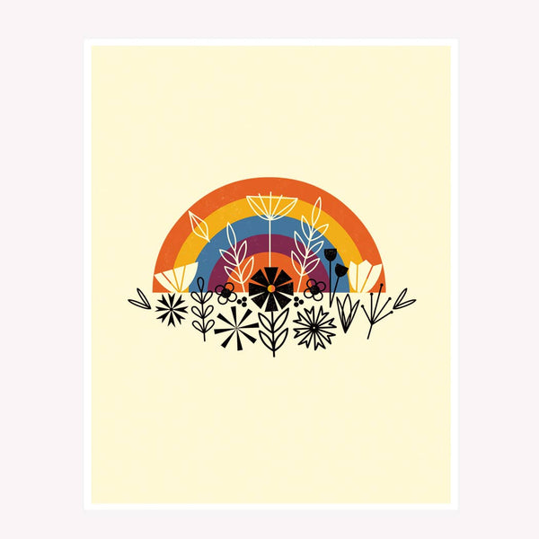 Floral Rainbow Art Print - yellow background & black graphic flowers