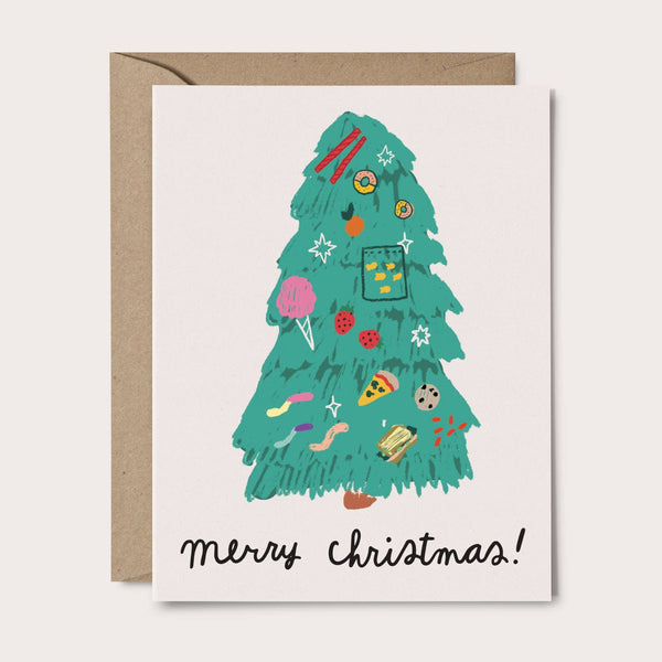 Food Tree Christmas Card - green tree with food ornaments