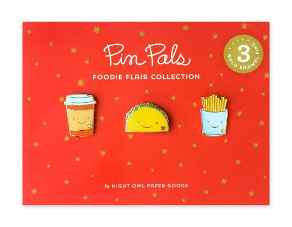 Foodie Enamel Pin Set - three designs
