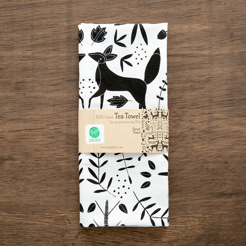 Forest Tea Towel - white with black graphic
