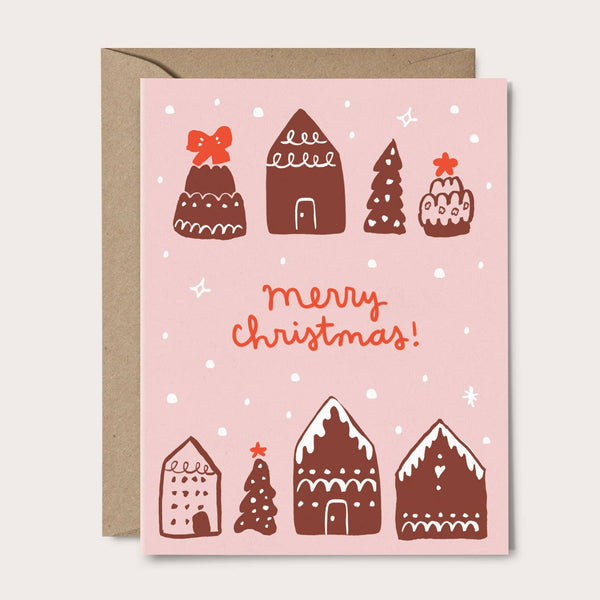 Gingerbread House Holiday Card - pink and brown