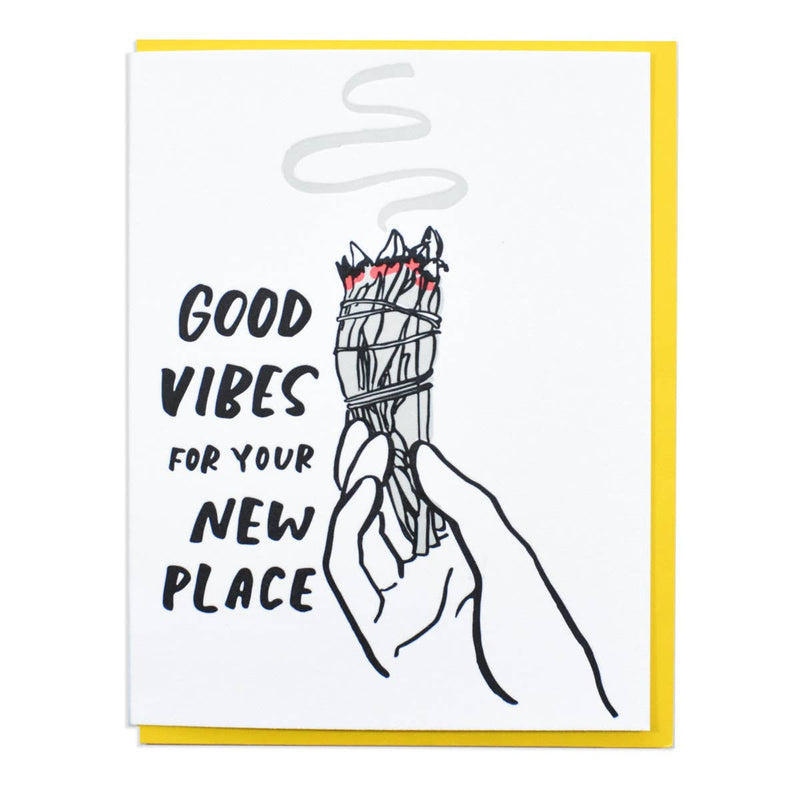 Good Vibes Card - white with black lettering