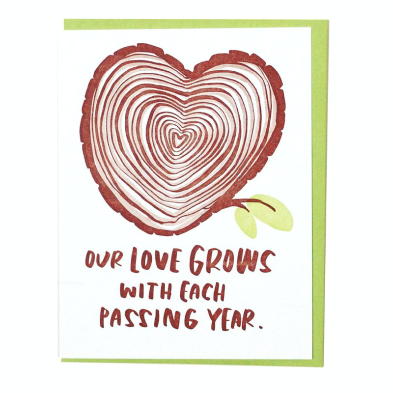 Greeting Card with Heart Shaped Tree Rings