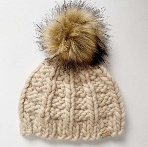 Peach wool handmade knit winter hat with pom pom