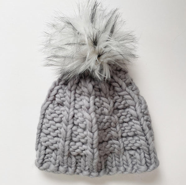 Grey wool handmade knit winter hat