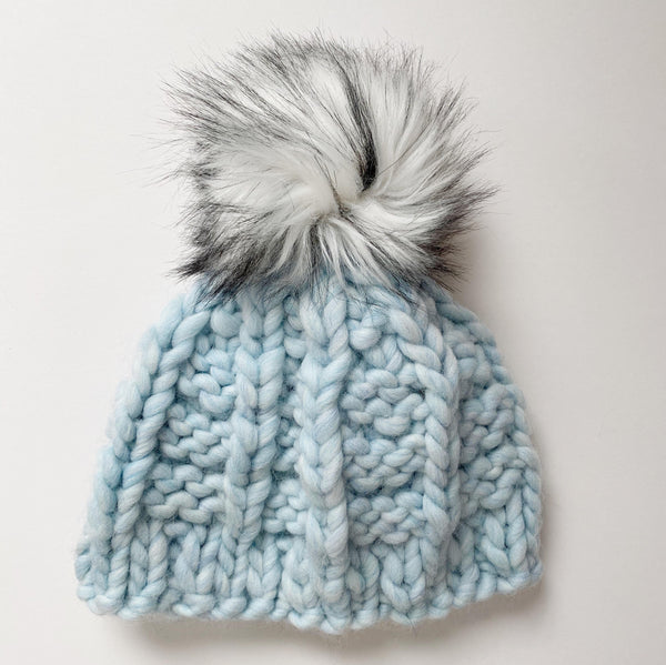 Blue wool handmade knit winter hat