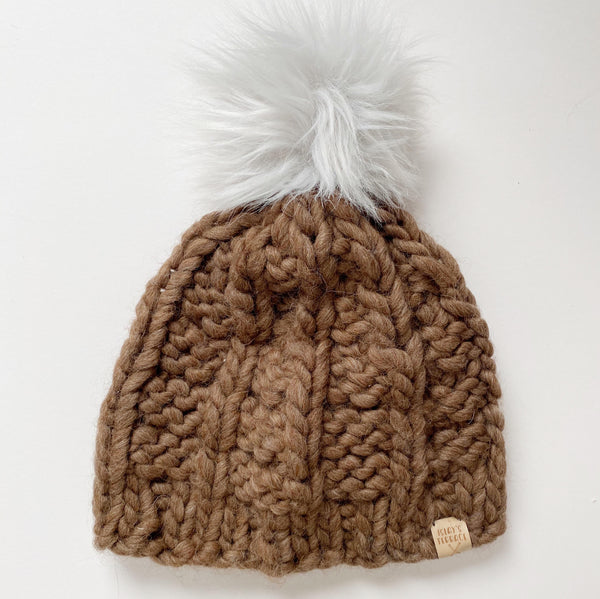 Brown wool handmade knit winter hat with white pom pom