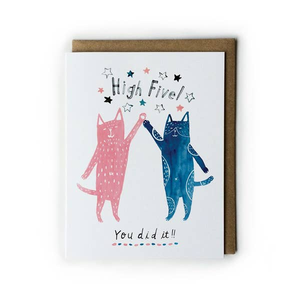 High Five Cats Card - pink and blue cats