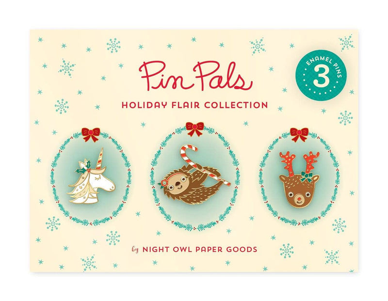 Holiday Flair Enamel Pin Set - set of three