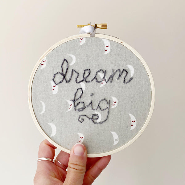 Dream Big Grey Moon Hand-Stitched Embroidery