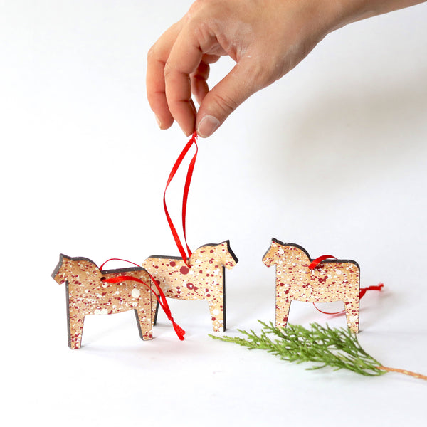 Splatter Paint Maple Horse Ornament