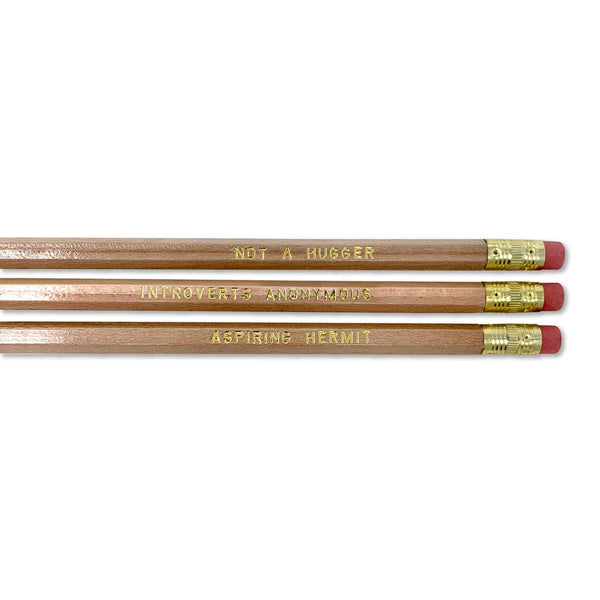 Introvert Pencil Set - 3 penciles with gold text