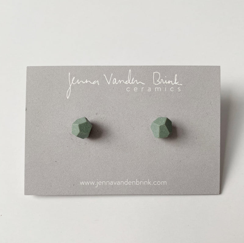 Porcelain Faceted Stud Earrings - Mint