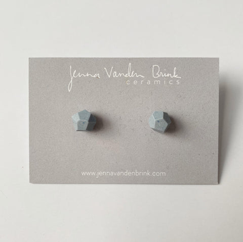 Porcelain Faceted Stud Earrings - Sky Blue