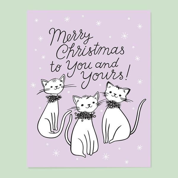 Kitty Christmas Card - lavendar with three cats