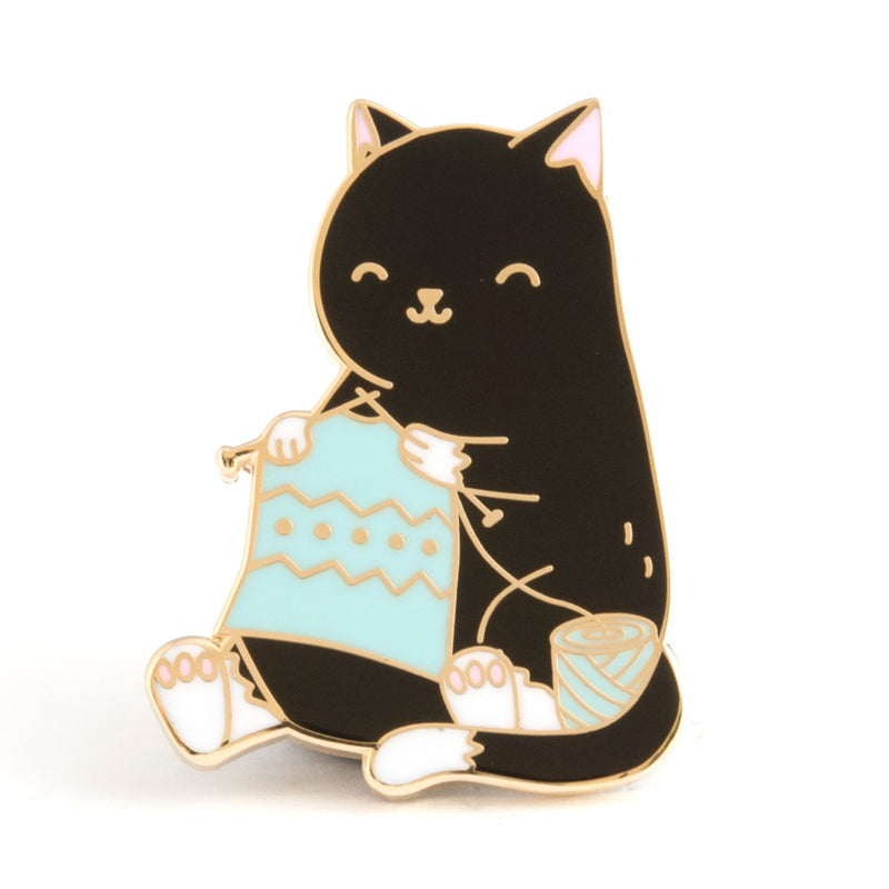 Knitting Cat Enamel Pin
