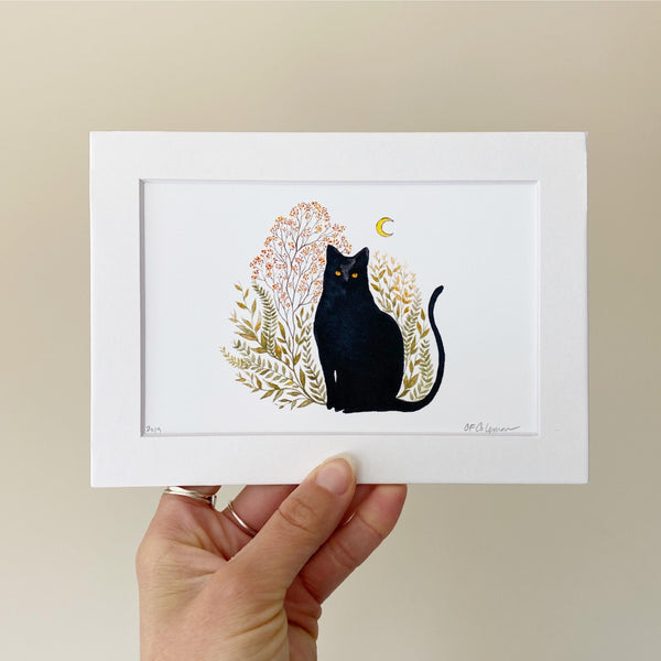 Black Cat Art Print 5x7
