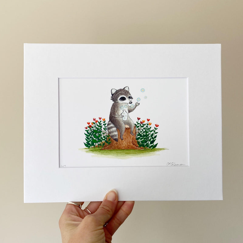 """Dream Jar"" Raccoon Art Print"