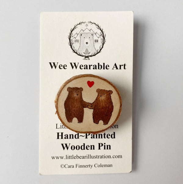 Hand-Painted Wooden Pin two bears