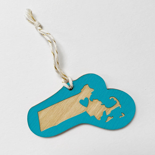 Laser Engraved Massachusetts Heart Ornament in Teal