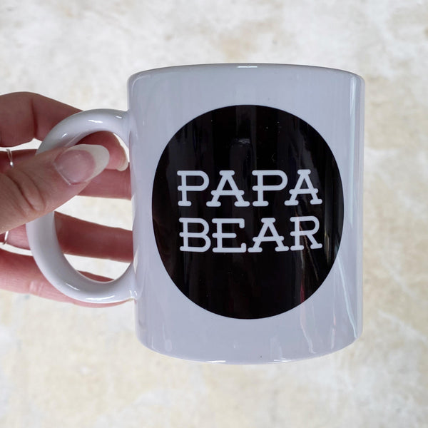 Papa Bear Mug white with black design