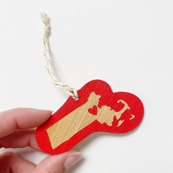Laser Cut Massachusetts Love Ornament in Red