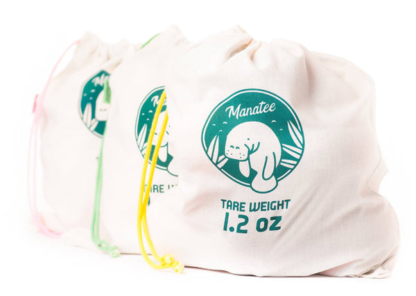 Set of three organic produce bags