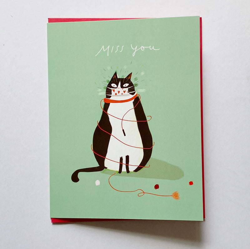 Miss You card with cat and face mask