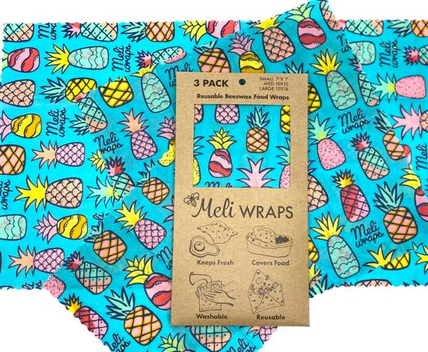 beeswax wrap 3 pack blue blue pineapple
