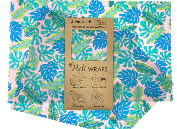 beeswax wrap 3 pack blue leaves