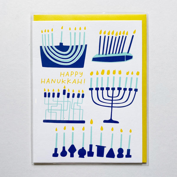 hanukkah card with menorahs
