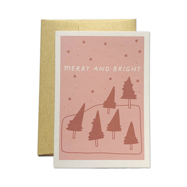 Merry and Bright Red Forest Card