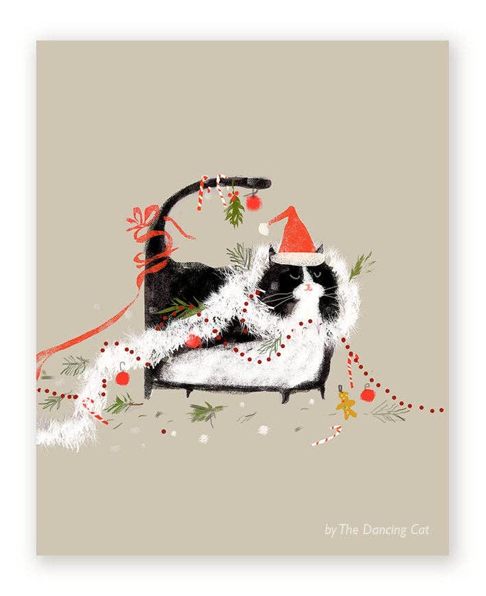 Merry Mess Cat Christmas Card