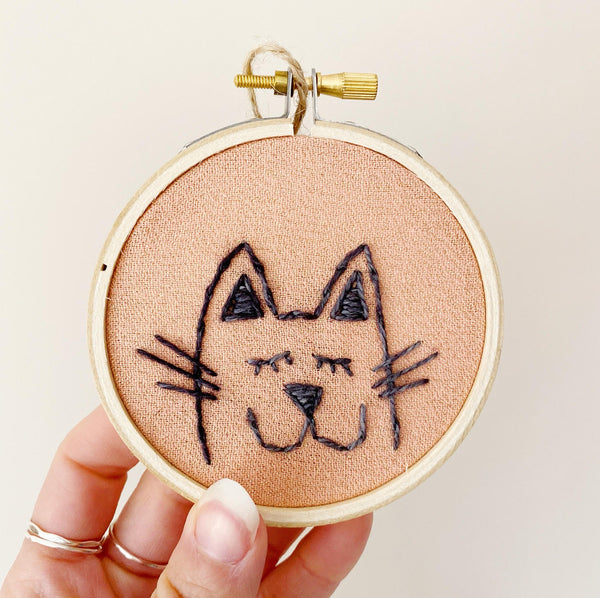 Mini Kitty Embroidery Hoop