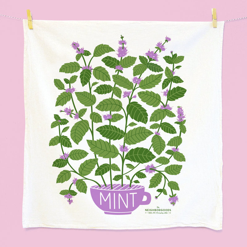 Tea towel with potted mint plant design