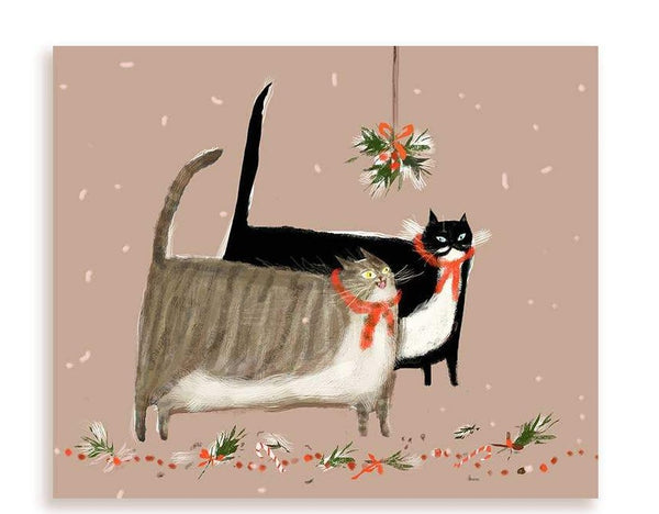 Mistletoe Cat Christmas Card