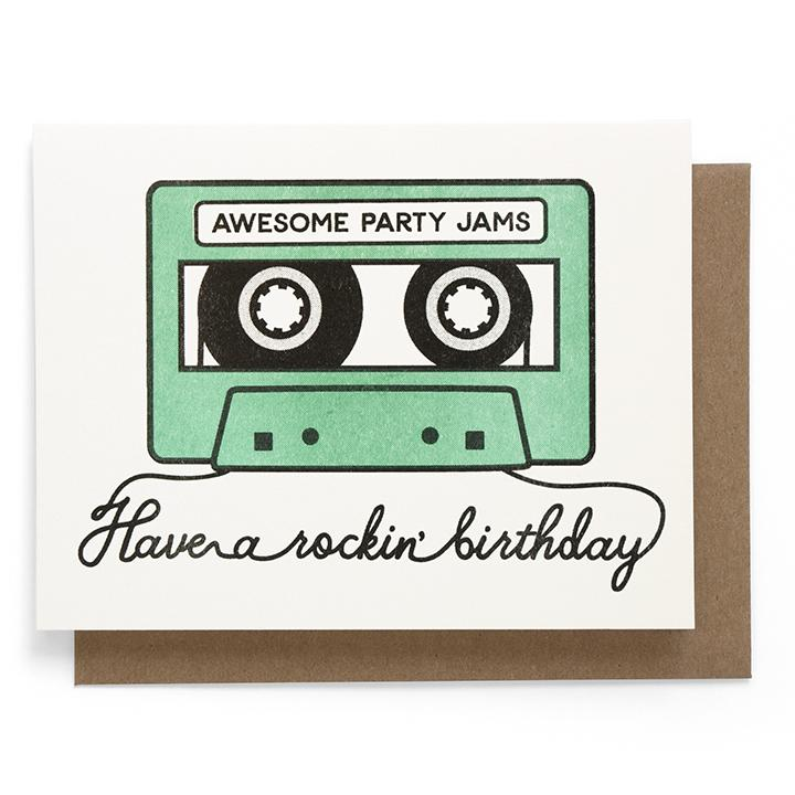 Birthday card with cassette tape