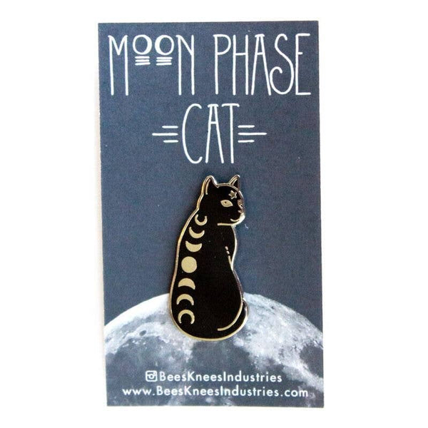Moon Phase Cat Pin - black and gold