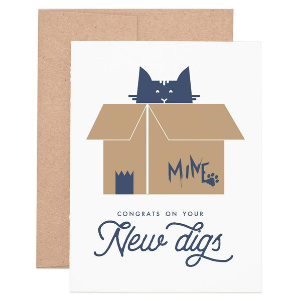 New house card featuring cat in moving box