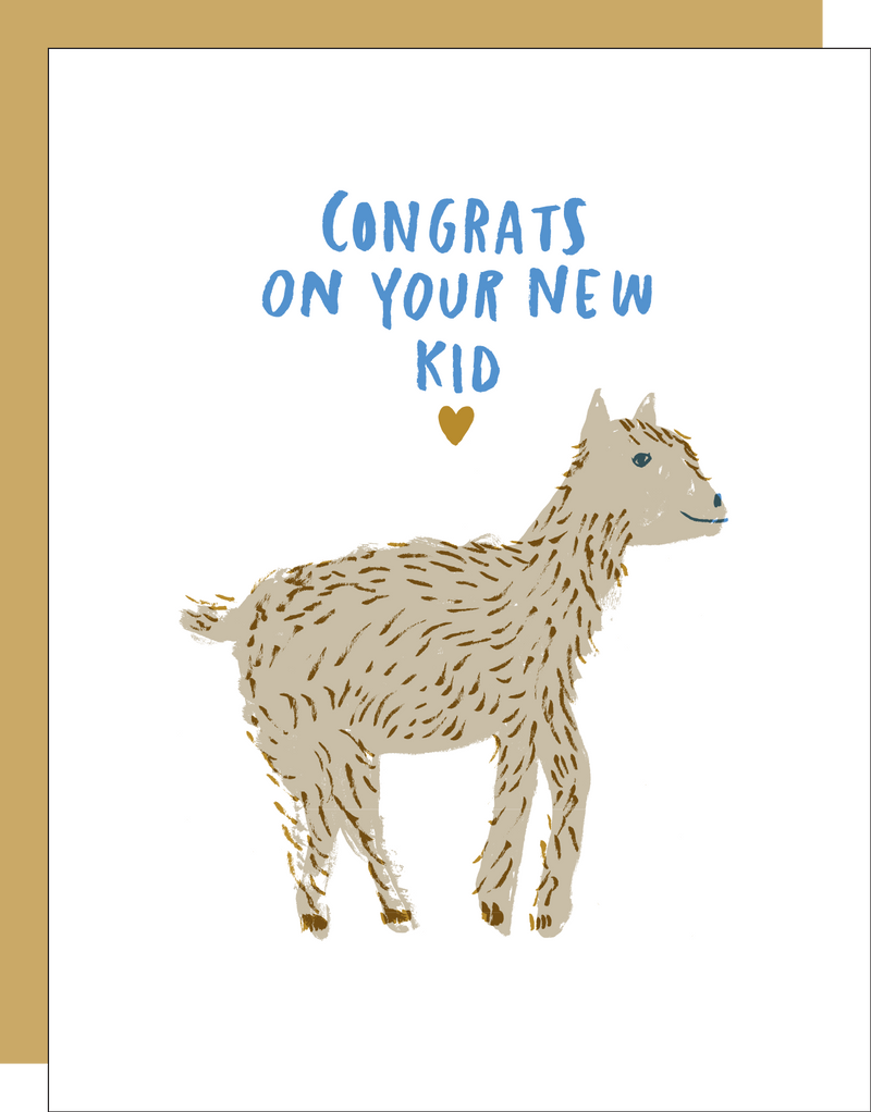 New Baby Card with Goat