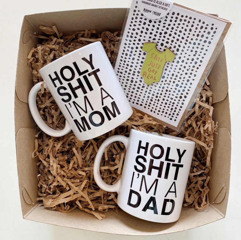 New Parent Gift Set with mugs and card