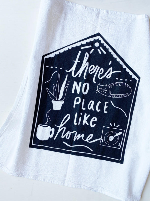 No Place Like Home Tea Towel - white with navy design
